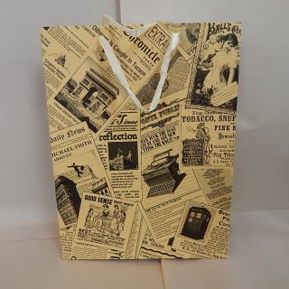 Pack of 12 Antique newspaper design Gift Bags