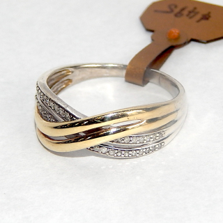 Large White & Yellow Gold Cross over RING