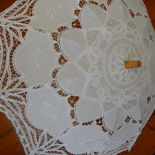 White cotton parasol