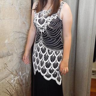 Black and White Stunning Beaded Dress
