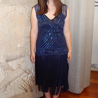 NEW Blue beaded  Tassel Dress