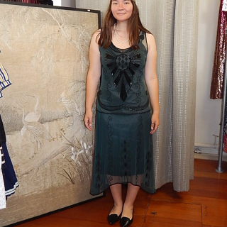 Green and Black Art Deco Styled Dress