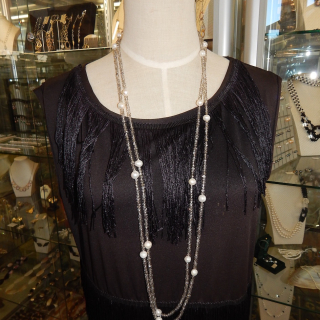 Freshwater Pearl and Smokey Crystal 2 meter long necklace