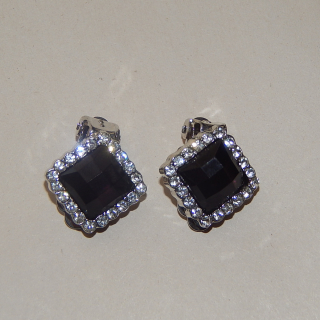 Diamond shape Black  clip on earrings