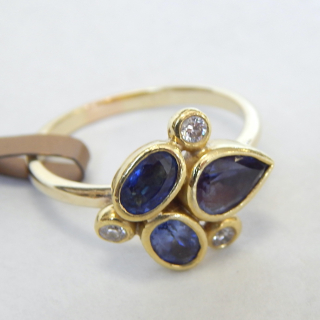 5 stone Diamond and Sapphire Hand Crafted Dress Ring